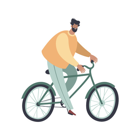 Man riding bicycles. Trendy flat cartoon character. Side view, isolated on white background. Vector illustration.