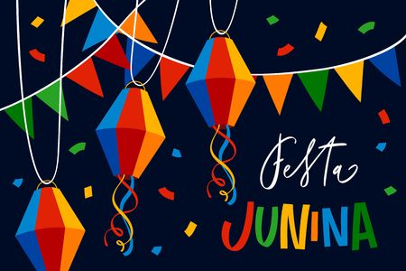 Fiesta Junina Illustration with party flags, colorful paper balloons and confetti. Brazil June festival design for greeting card, invitation or holiday poster. Stock Illustratie