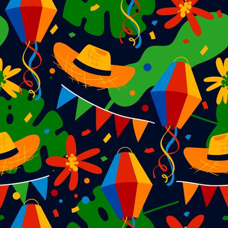 Fiesta Junina seamless pattern with party flags, colorful paper balloons and confetti.
