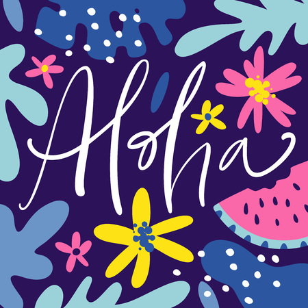 Aloha hand drawn lettering with tropical plants, leaves and flowers. Vector illustration. Ilustrace