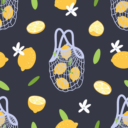 Seamless pattern with lemons, blossoms and mesh bag. Eco lifestyle. Stockfoto - 124865458