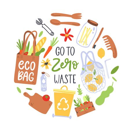 Hand drawn elements of zero waste. Eco lifestyle. Vector illustration. Stockfoto - 127276585