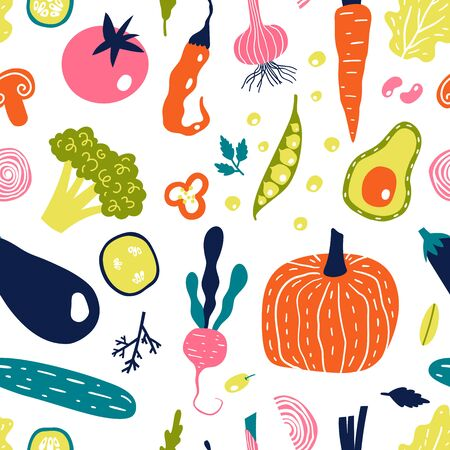 Seamless pattern with hand drawn vegetables. Vector illustration isolated on white background. Eco lifestyle.