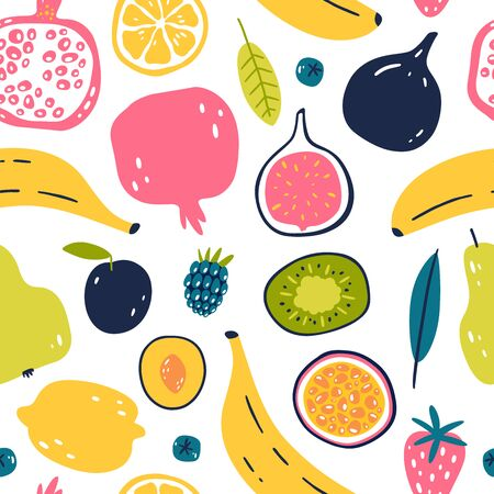 Abstract seamless pattern with tropical and exotic fruits isolated on white background. Hand drawn style. Stockfoto - 127276587