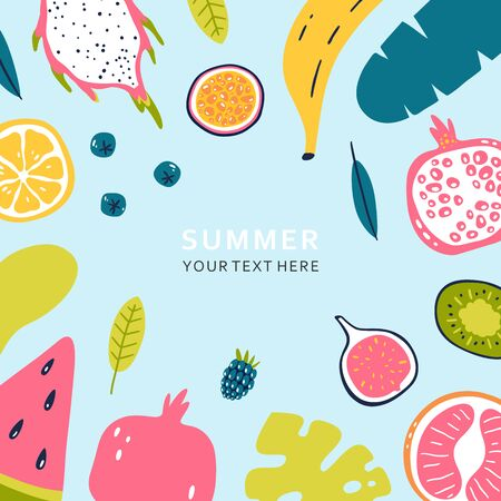 Summer banner with pieces of ripe fruit and berries isolated on blue background. Vector illustration. Stockfoto - 127276584