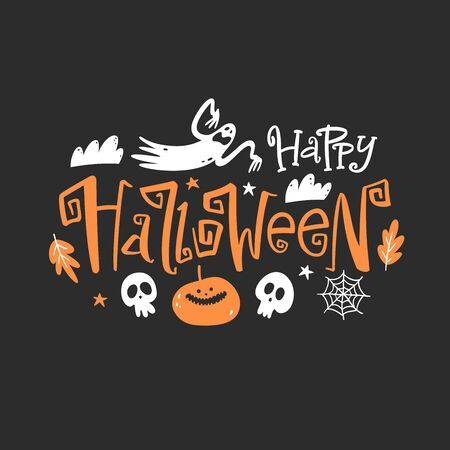 Happy halloween emblem. Lettering composition for banner, poster, greeting card, party invitation. Stock Illustratie