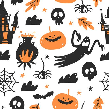 Halloween seamless pattern. Endless background with pumpkins, skulls, witch's cauldron, bats, ghosts, spider web and haunted house