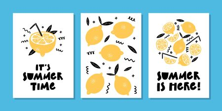 Vector set of bright summer cards or posters with lemon, lemon slice, lemonade and hand written text.