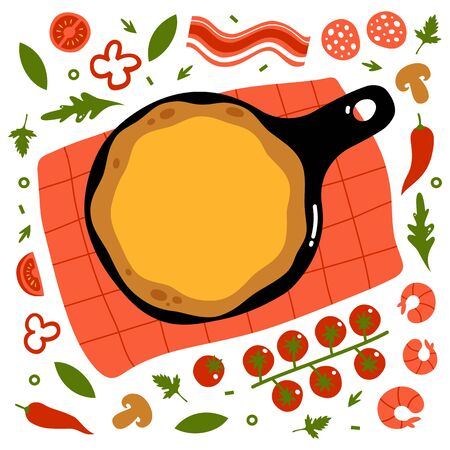 Pizza vector illustration. Create your own pizza. Pizza base and ingredients. Flat design.  イラスト・ベクター素材