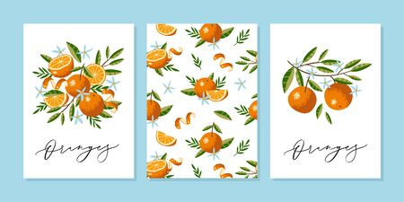 Vector greeting card or wedding invitation template with Oranges, Flowers and Leaves in hand drawn style with vector calligraphy text. Stockfoto - 149384485