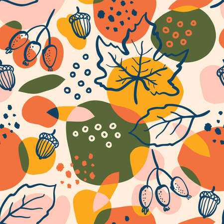 Abstract  with autumn elements, bright leaves, berries and acorns.