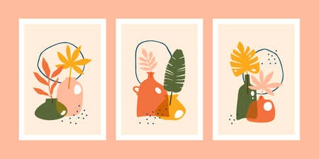 Set of minimalistic posters or cards with abstract tropical leaves composition in trendy contemporary collage style.