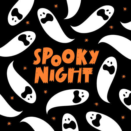Halloween banner, lettering poster, greeting card, party invitation.