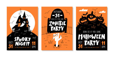 Vector set of Halloween party invitations or greeting cards with handwritten text and traditional symbols.