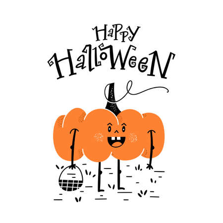 Halloween party card, invitation with hand drawn cute pumpkin and hand-lettered text.