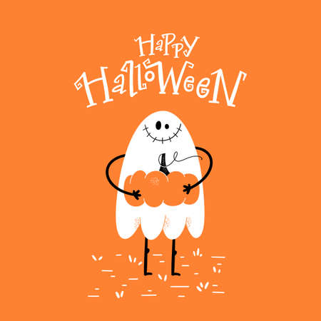Halloween party card, invitation with hand drawn cute cartoon spooky ghost and hand-lettered text.