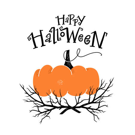 Halloween party card, invitation with hand drawn pumpkin and hand-lettered text. Stock Illustratie