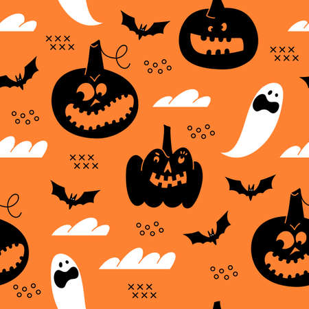 Halloween seamless pattern with ghost and pumpkin.