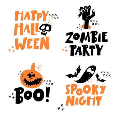Happy Halloween lettering phrases set. Traditional symbols.