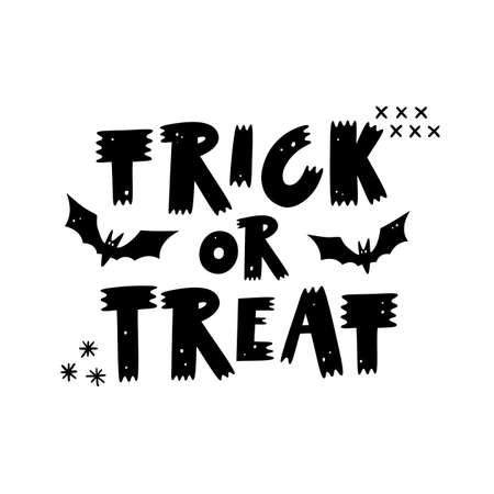 Trick or Treat. Hand drawn lettering phrase for Halloween day isolated on white background. Stock Illustratie