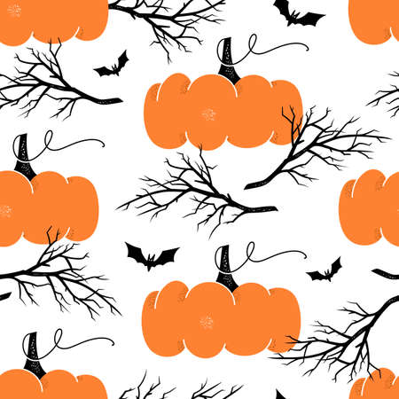 Hand drawn seamless pattern with pumpkins and tree branches. Halloween texture.