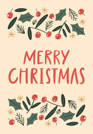 Merry Christmas botanical card with hand-lettered text. Holidays party poster.