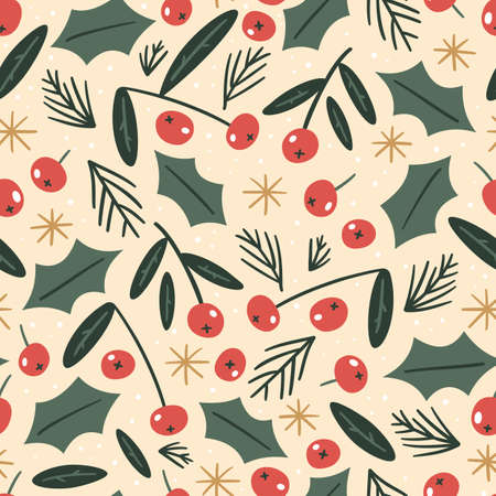 Hand drawn floral seamless pattern with traditional Christmas elements, holly leaves and berries. Vintage style.