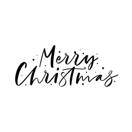 Merry Christmas Lettering design isolated on white background. Stock Illustratie