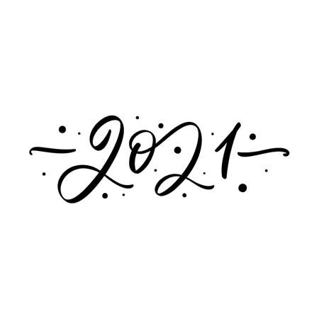 Happy New Year 2021 handwritten brush lettering isolated on white background. Stock Illustratie