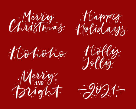 Merry Christmas and Happy New Year calligraphy set.