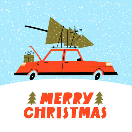 Merry Christmas illustration. Winter landscape with red retro car and tree on the top.
