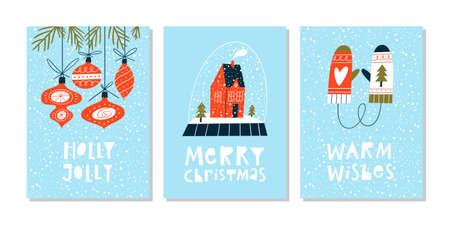 Christmas greeting cards or tags with lettering and hand drawn design elements. Postcard or invitation template.