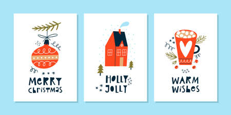 Set of christmas and new year winter holiday greeting cards with lettering and hand drawn design elements.