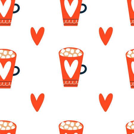 Seamless pattern with mugs. Hand Drawn texture for Christmas or Valentines day.