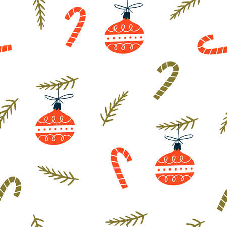 Christmas seamless pattern with xmas balls. Hand Drawn texture for winter holidays. Stock Illustratie