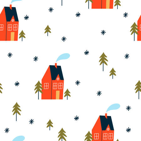 Christmas seamless pattern with houses and trees. Winter landscape.