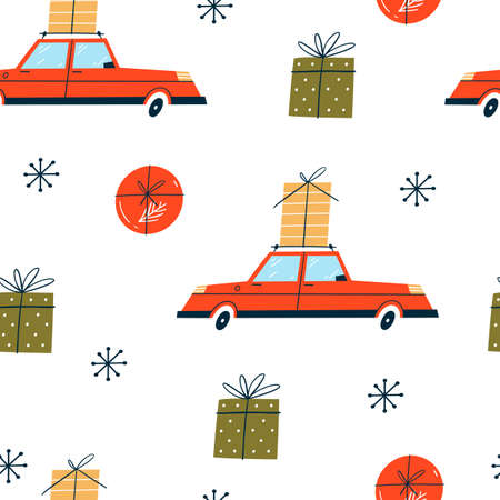Christmas seamless pattern with red cars and gift boxes.