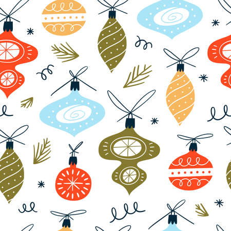 Christmas seamless pattern with xmas balls. Hand Drawn texture for winter holidays. Illusztráció