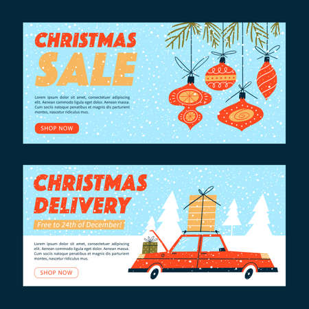 Christmas sale design templates. Online shopping banners, posters, coupons, ads, social media. Illusztráció