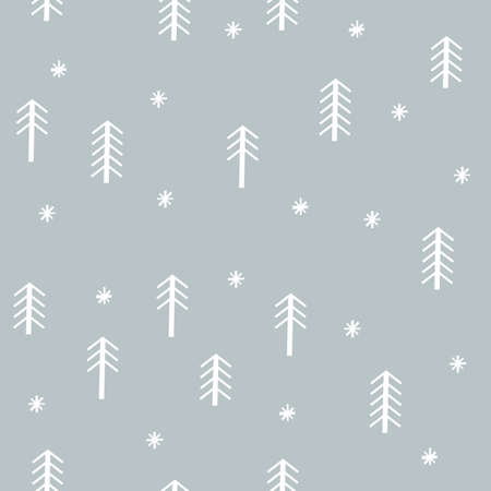 Winter seamless pattern with christmas trees. Hand draw style. Design for fabric or wrapping paper. Stock Illustratie
