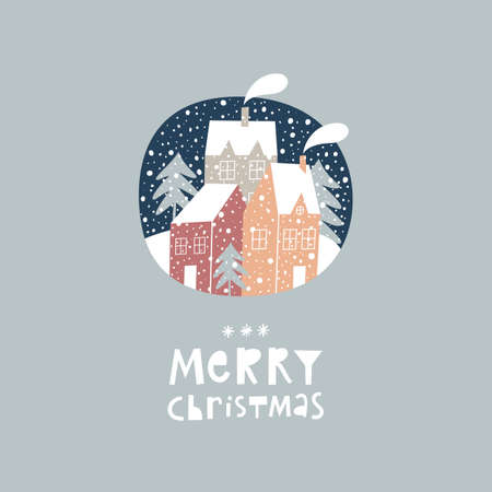 Template Christmas greeting card with winter town landscape. Stock Illustratie