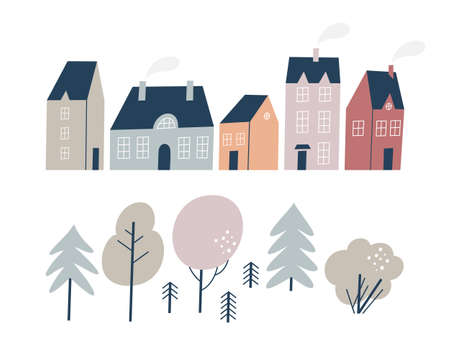 Various small tiny houses and trees. Hand drawn style.
