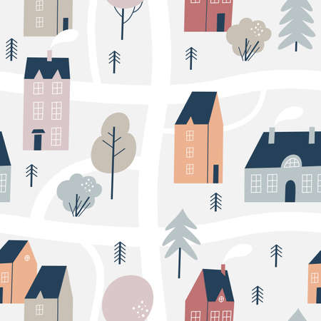 Hand drawn houses for winter, New Year and Christmas fabrics and decor. Northern town. Seamless pattern.