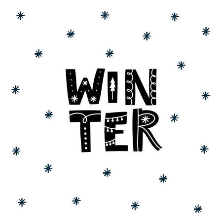 Hello Winter. Happy New Year greeting card design. Hand lettering poster.