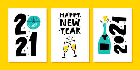2021 New year greeting card design set. 2021 please be better.