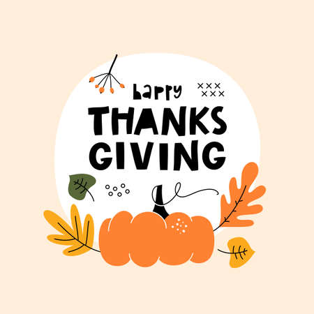 Happy Thanksgiving lettering quote. Hand drawn greeting card template.