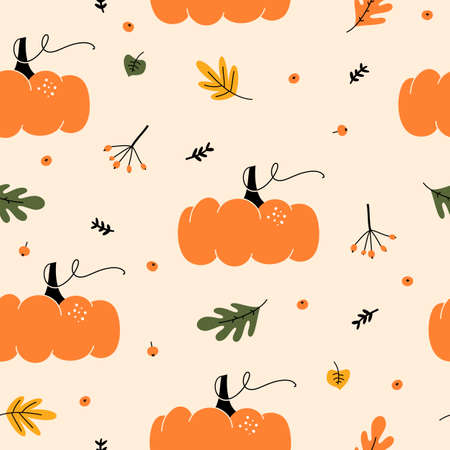 Seasonal autumn seamless pattern with with pumpkins, berries and leaves. Autumnal hand drawn decorative elements. Stock Illustratie