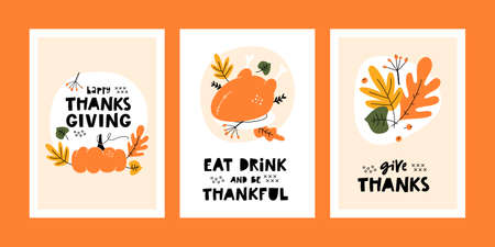 Set of Thanksgiving greeting cards and invitations with pumpkin, leaves, baked turkey and handwritten lettering. Templates for harvest festival.