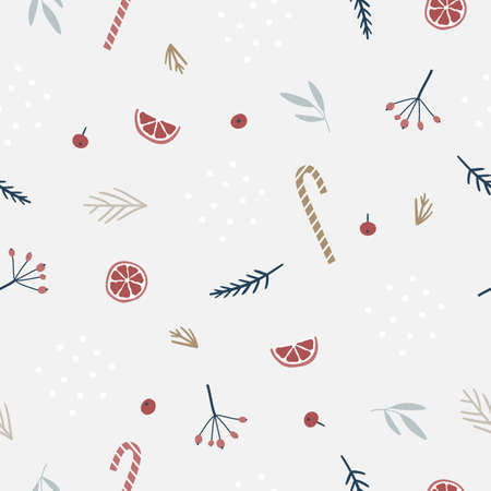 Seamless Christmas pattern with branches and berries Stock Illustratie