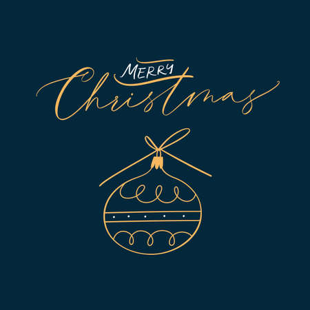 Merry Christmas Calligraphic Inscription. Winter holidays typographic quote.
